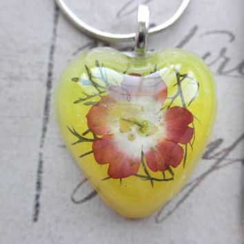 Yellow Resin Heart Pendant Necklace with Dried Verbena Flower on Silver Snake Chain