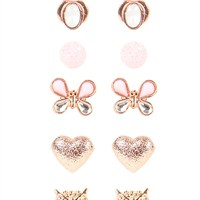 Set of 6 Stud Earrings with Butterfly and Hearts