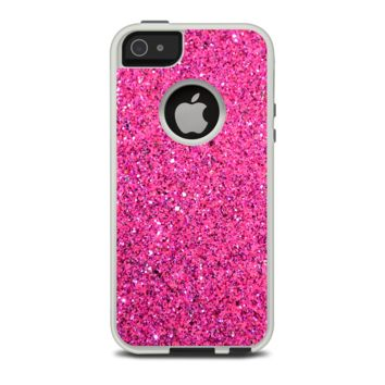 The Pink Sparkly Glitter Ultra Metallic Apple iPhone 5-5s Otterbox Commuter Case Skin Set