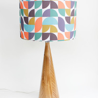 "Lamp Shade - 14"" Drum - Mod Geometry - Coral, Teal, Indigo, Gold - Organic Cotton Sateen - Washer Top / Harp Fitting"