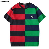 Burberry New fashion embroidery letter couple stripe contrast color top t-shirt