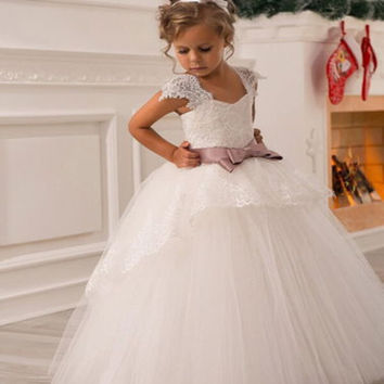 2016 Cheap Wedding Party Formal Flowers Girl Dress Baby Pageant Dresses Birthday Cummunion Toddler Kids Tulle Custom