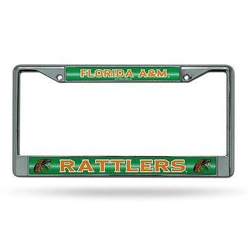 Florida A&M Rattlers NCAA Glitter Bling Chrome License Plate Frame Car Truck