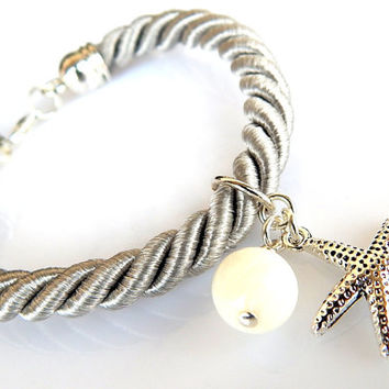 Silky Rope Bracelet, Mother of Pearl Bracelet, Starfish Bracelet, Gemstone Bracelet - FREE SHIPPING