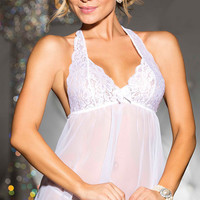 White Floral Lace and Mesh Halter Ruffled Babydoll