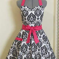 Sweetheart Hostess Apron-Black Damask with Hot Pink-Full of Twirl Flounce-