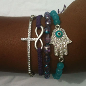 Turquoise and Purple Stack Set of 4 Infinity, Cross and Protector Beaded and Knotted Bracelets
