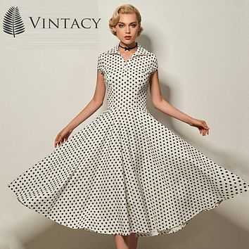 Vintacy vintage dress black polka dots women dress white red autumn party dress ball gown slim 1950s dress vintage rockabilly