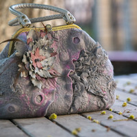 "Bag ""Pink mist"", felted bag, nunofelting, felting, filz, feltro, eco fachion,woman's bag,bag with metal frame, ooak, ready to ship"