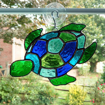 Stained Glass Turtle Suncatcher, Turtle Ornament, Blue and Green Glass, Beach Decor, Coastal Decor, Sea Creature, Turtle Art, Sea Turtle