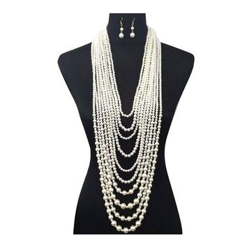 LMFXT3 Women's Ten Multi-Strand Simulated Pearl Statement Necklace and Earrings Set in Cream Color