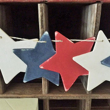 Fourth of July Banner, Patriotic Decor, Star Banner, Star Garland, Red White and Blue Party Decor