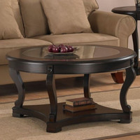 Round Coffee Table Glass Contemporary Storage Shelf Living Room Furniture Den