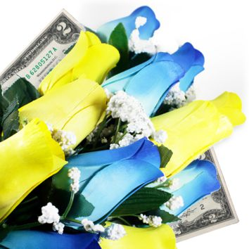 Baby Blue & Yellow Bouquet | Cash Roses®