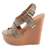 Woven Front Slingback Platform Wedge Sandals - Brown