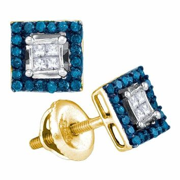 10kt Yellow Gold Women's Round Blue Color Enhanced Diamond Square Cluster Earrings 1-3 Cttw - FREE Shipping (USA/CAN)
