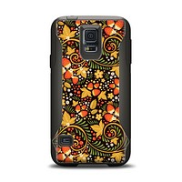 The Colorful Floral Pattern with Strawberries Samsung Galaxy S5 Otterbox Commuter Case Skin Set