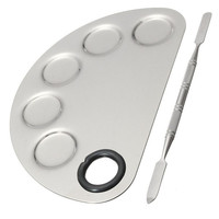 Stainless Steel Cosmetic Semicircle Five-hole Makeup Palette Nail Art Palette Mixing Spatula Cosmetic Makeup Tool Kits
