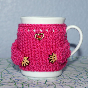 Knit mug sweater. Tea coffee cup cozy. Magenta. Heart charm. Hot pink merino wool. Red rhinestone. Mother's day gift. Bridal shower. Office