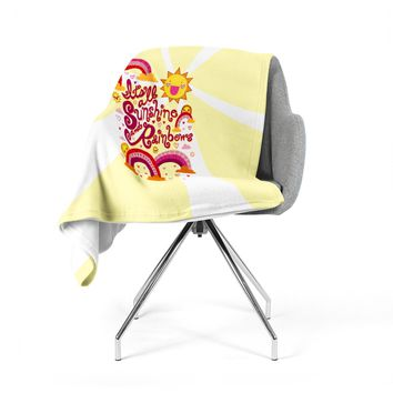 "Jane Smith ""It's All Sunshine & Rainbows"" Yellow Kids Fleece Throw Blanket"