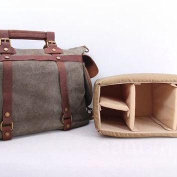 Gray Canvas Camera Bag Messenger Portable Camera Bag DSLR Camera Bag 1801