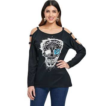 Skull Print Cut Out Long Sleeve Casual Top