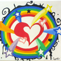 Rainbow oil painting, hearts, stars, colorful, original canvas, 8x11, wall art