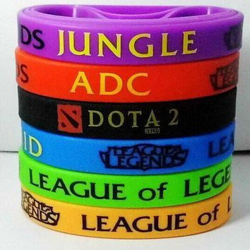hot 2015 retail lol games souvenirs 100 silicone wristband league of legends bracelets with adc jungle mid support top printed band