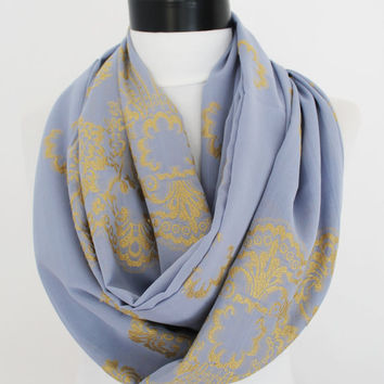 blue gold scarf,infinity scarf, scarf, scarves, long scarf, loop scarf, gift