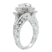 White / Rose / Yellow Gold Plated or Sterling Silver Hand Carved Vintage Inspired Blooming Rose Flower CZ Engagement Ring