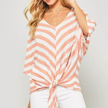 Dolman Sleeved Striped Top - Peach