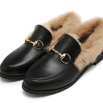 Fashionable Flat Winter Leather Metal Tods Shoes [9458242119]