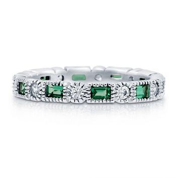 The Classic 2TCW Round Cut Emerald Green Russian Lab Diamond Wedding Band Eternity Ring