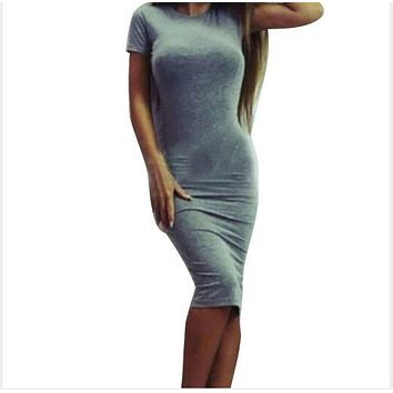 Fashion Women Sexy Bodycon Dress O-Neck Spring Summer Dress 2017 Package Hip Slim Fit Casual Dresses Party Dress Vestidos M0558