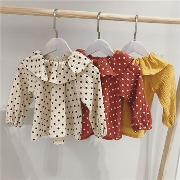 Fall Cotton Linen Baby Girl Blouses For 1-6 Yrs Kids Doll Collar Shirt Fantasy Children Clothing Casual Dot Child School Clothes