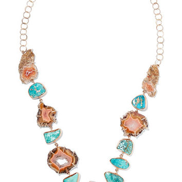 Melissa Joy Manning - 14-karat gold, agate and turquoise necklace