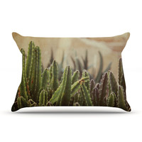 "Jillian Audrey ""Green Grass Cactus"" Green Brown Pillow Sham"