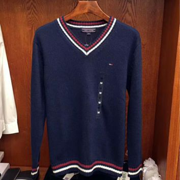 TOMMY HILFIGER Striped Long Sleeve Cropped Sweater G-G-JGYF
