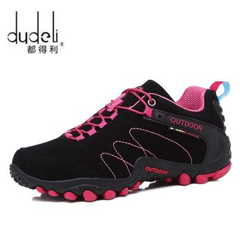 Spring Hiking Shoes Women Men Waterproof shoes Wear-resisting Climbing Mountain Shoes Leather Sport Sneakers Trekking Boot