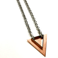 Mens Necklace w/ Triangle Pendant. Mixed Metal Geometric Necklace. Stainless Steel Necklace Unisex Jewelry for Him and Her