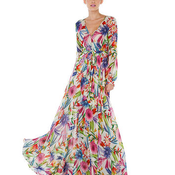 Floral V-neck Cuff Sleeve Tent Maxi Dress