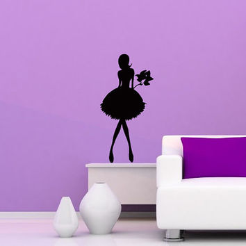 Wall Vinyl Decal Sticker  fashion girl with flower boquet beauty saloon Art Design Room Nice Picture Decor Hall Wall Chu1003