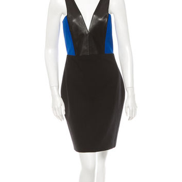 Mason By Michelle Blue/Black Leather Combo V Body Con Dress From Intermix Size 0/Xs (Mason by Michelle Mason)