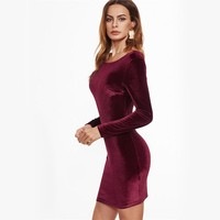 Backless Long Sleeved Burgundy Velvet Bodycon Dress