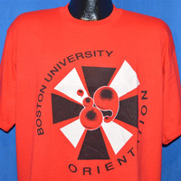 80s Boston University Orientation 1989 Red Black White t-shirt Extra-Large