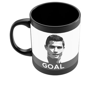 Cristiano Ronaldo Goal Real Madrid Black Football Coffee Mug