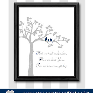 navy grey nursery wall saying first we had baby quote love birds on brach nursery wall art new baby gift baby wall decor bird family in tree