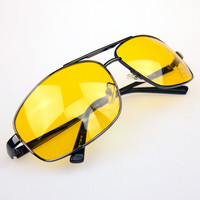 2016 High Quality Night Driving Vision Yellow Lens Sunglasses Driver Safety Sun glasses Goggles type glass Brand New