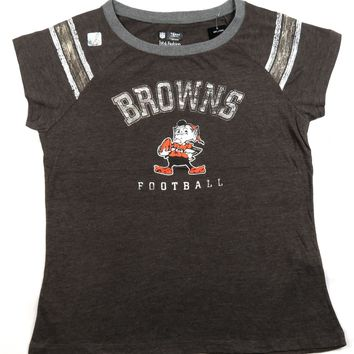 Women's Cleveland Browns Tee Shirt Cap Sleeve Brownie Elf Logo NFL Football