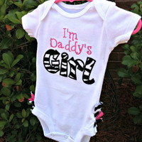I'm Daddy's Girl Ruffled Bottom Zebra Print Bodysuit-Girls Applique Bodysuit with Ruffles-Baby Girl Clothes